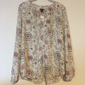 Ann Taylor Women's Blouse Flowy Long-Sleeve Large